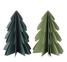 2 stevige papieren (kerst)bomen. De bomen sluiten met een magneetje.Afm.: 20 cm.