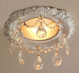 """Beaux-Artes Victorian Recessed Light Trims Embellished with 2"""" Clear Tear Drop Crystals and 8mm faceted Czechoslovakian crystal chains   Beaux Arts"""