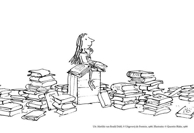 Mathilda tussen haar boeken. Deze kleurplaat is ook leuk voor Roald Dahldag.(13 september)