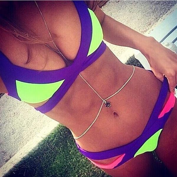 Swimsuit Summer Sexy Bikini Dynamic Bordered Color Bandage Brazilian Set Swimwear