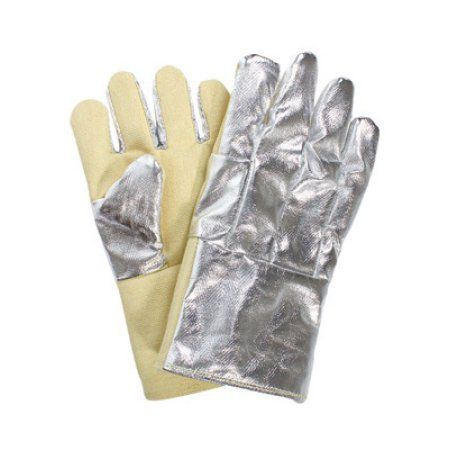 National Safety Apparel Thermobest 22 Ounce Kevlar Special Heavy 13 Ounce Reverse Fonda Wool Lined Heat Resistant Gloves With Winged Thumb, 14 inch Gauntlet Cuff And Aluminized Carbon Kevlar Back