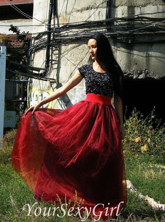 Adult Full Length Burgundy Vinous Long Tutu Skirt, Maxi tutu skirt, long skirt