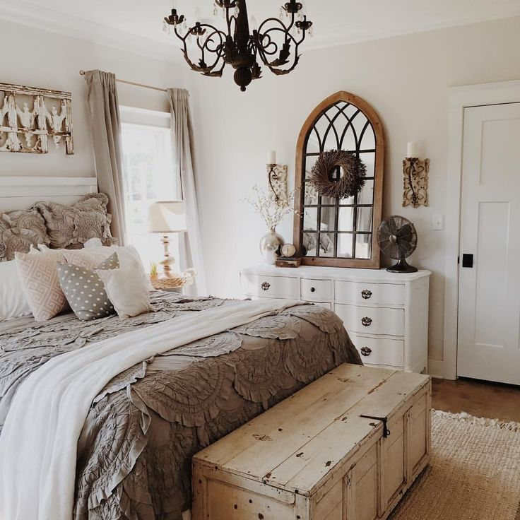 Neutral Bedroom Whitewashed Stained Trunk Arched Mirror Is Perfect For Me In Every Way