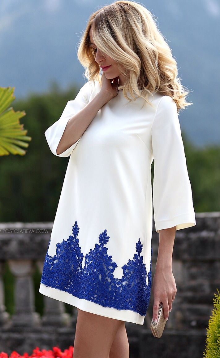 Magnolia dress lace, white , blue