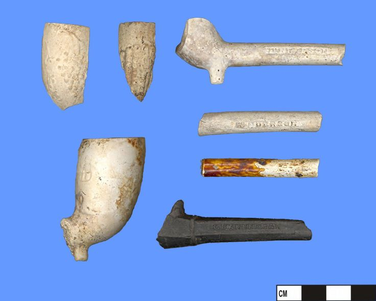 This sample of smoking pipe bowls and stems were discovered during excavations of what is now the 3 Brewers Microbrewery Restaurant on Yonge Street in downtown Toronto, Ontario. These pipe stems are a small representation of the pipes manufactured by Bannermann (ca. 1850-1902) and Henderson (ca. 1846-1902), both of Montreal, Quebec. #archaeology