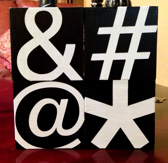 Custom wood sign ampersand hashtag at symbol asterisk for Decor hashtags