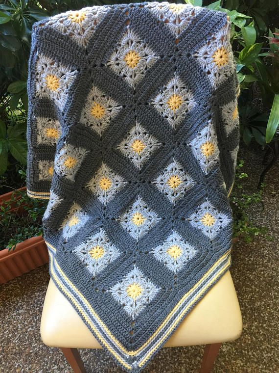 crochet baby blanket gray yellow blanket gray afghan