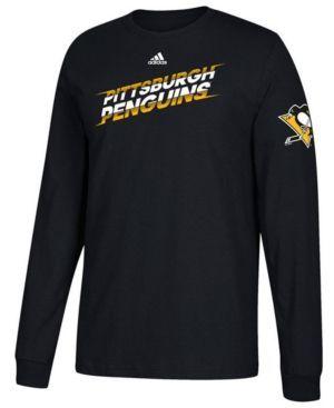 adidas Men's Pittsburgh Penguins Line Shift Long Sleeve T-Shirt - Black