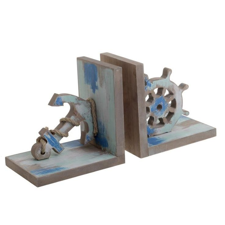 WOODEN BOOKEND ANCHOR 33X12X16.5 - Metallic - Minatures - DECORATIONS - inart