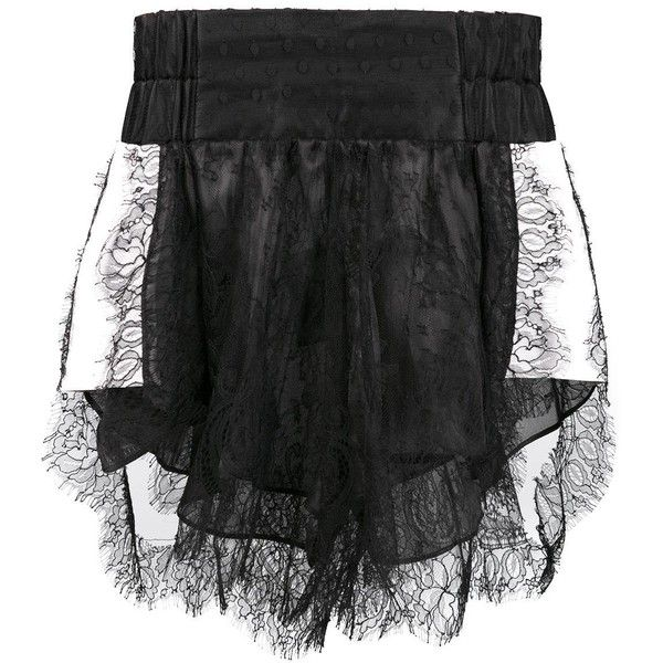 Natasha Zinko lace shorts ($1,060) ❤ liked on Polyvore featuring shorts, black, lacy shorts and lace shorts