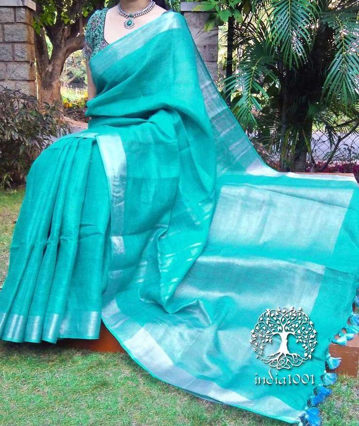 Elegant Woven Linen Saree with Silver Border and Palla