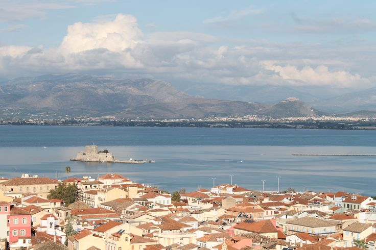 View of Nafplio (Ναύπλιο) from the Palamidi Fortress. Peloponnese, Greece