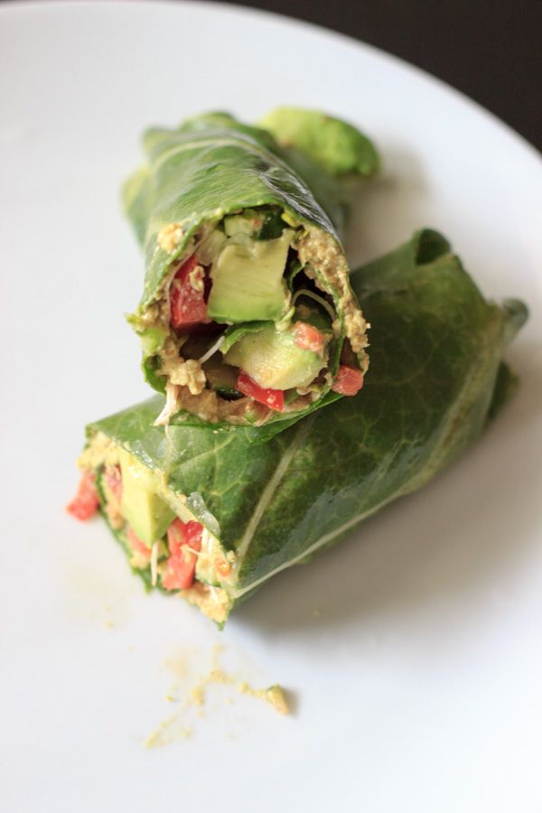 Sunflower Wrap - Vegan and gluten free wrap made with collard greens, veggies and sunflower hummus.