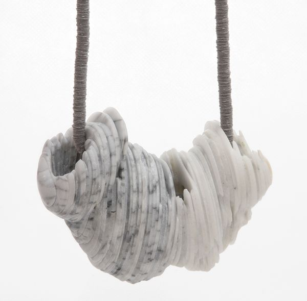 Tarja Tuupanen, Untitled, 2013, necklace, readymade marble tableware, velour sticker, steel wire, 460-mm long, 110 x 80 x 60 mm, courtesy of Galerie Marzee, photo: Lassi Rinno