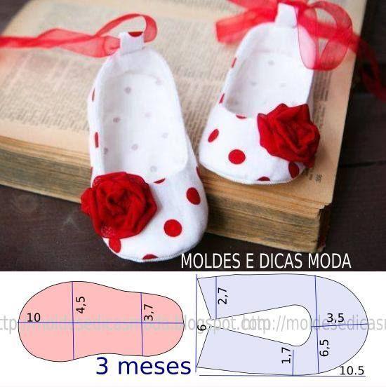 Molde sapatinho de tecido para bebê (pode ser feito de feltro também)