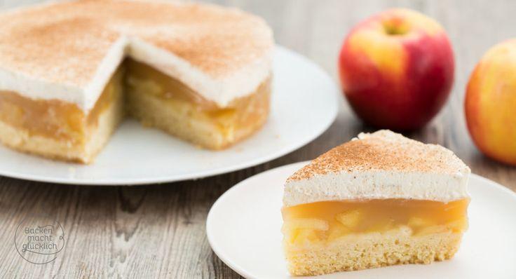 Diese Apfel-Sahne-Torte mit Mürbteig und Pudding ist der beste Apfelkuchen überhaupt: Überall beliebt und einfach zu machen!