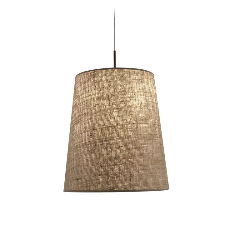 lampara colgante pantalla arpillera conica led buena luz