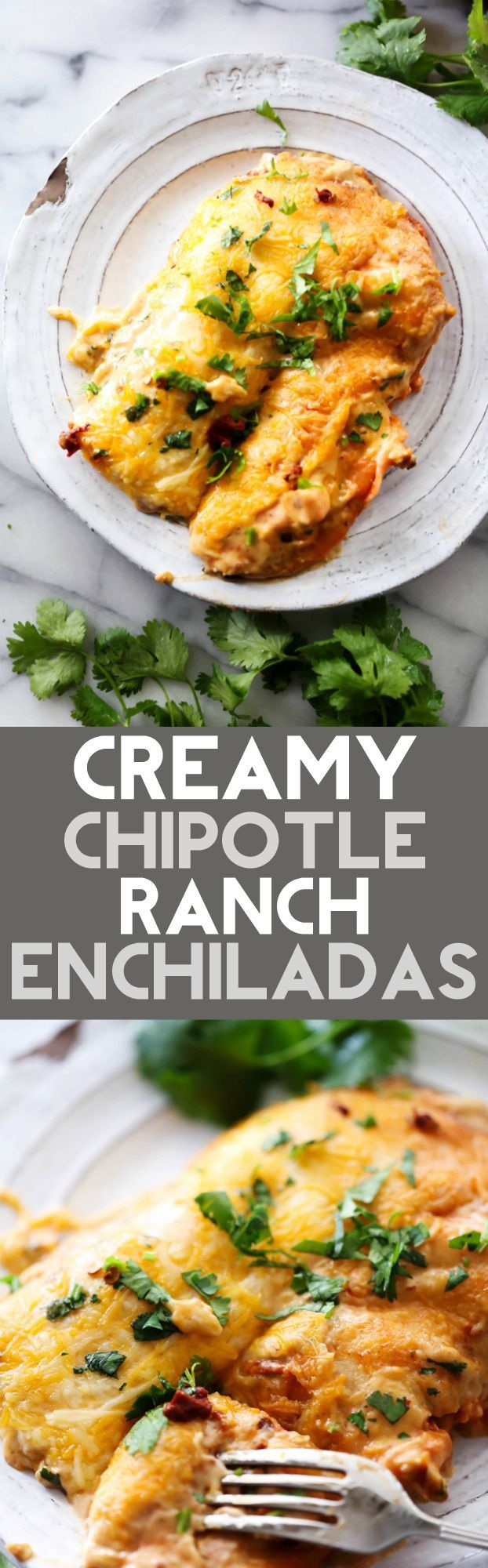 These Creamy Chipotle Ranch Enchiladas are out of this world! They have a kick…