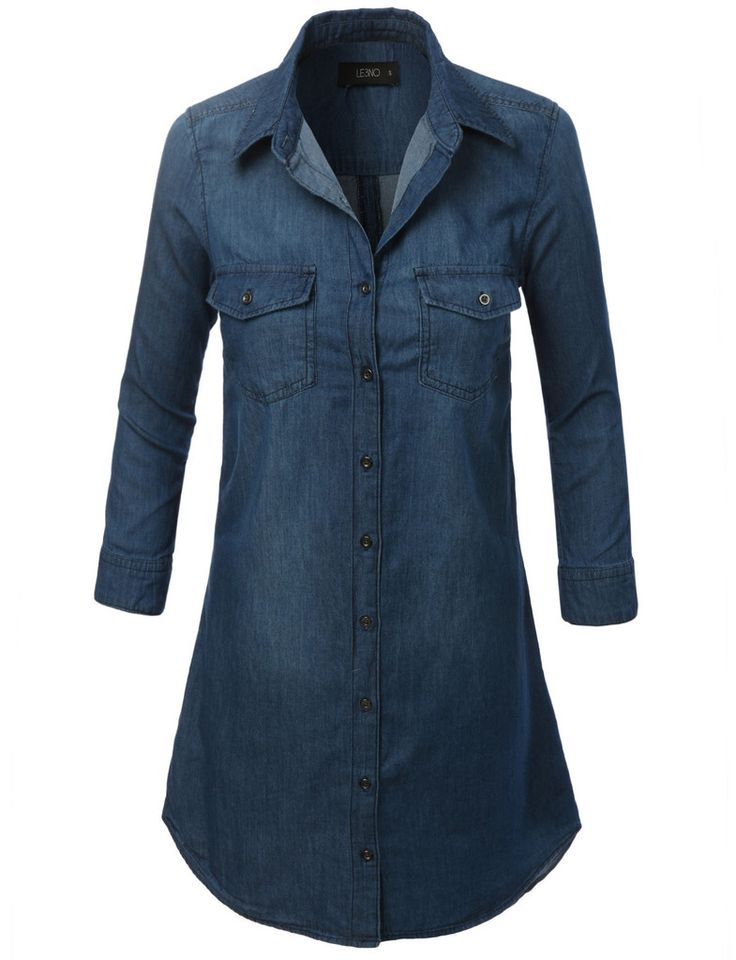 Like an oversized shirt, this cuffed 3/4 sleeve chambray denim shirt dress is on trend-versatile. This dress is left straight and loose for a relaxed vibe but for a more flattering slimmer silhouette
