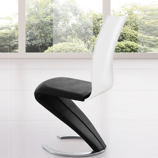 Zoro Z Shaped Dining Chair In Black And White