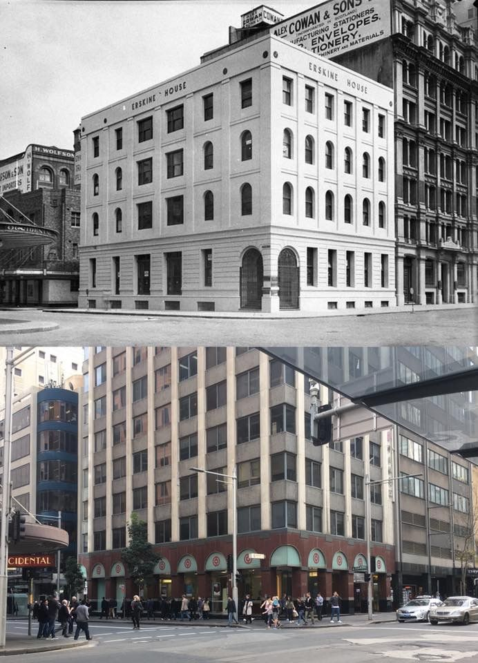The north west corner of Erskine and York Streets, Sydney. From Erskine House in 1939 to Bank of China in 2017. [State Library of NSW > Phil Harvey. By Phil Harvey]