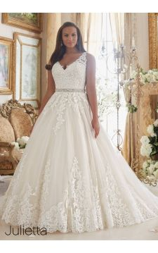 Plus Size Wedding Dress 3208 Embroidered Lace Appliques on Tulle Ball Gown with Scalloped Hemline
