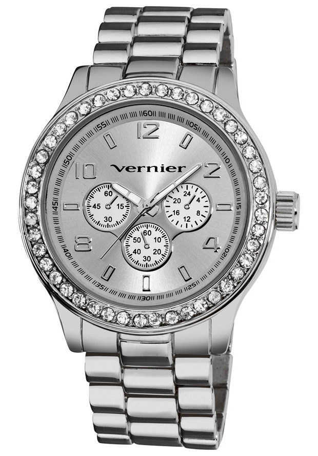 Price:$27.00 #watches Vernier VNR11088SS, This Vernier timepiece features a bezel embellished with 45 white crystals around a faux-chrono dial pattern and luminescent sword shaped hands. The silver tone bracelet complets the fashion look.
