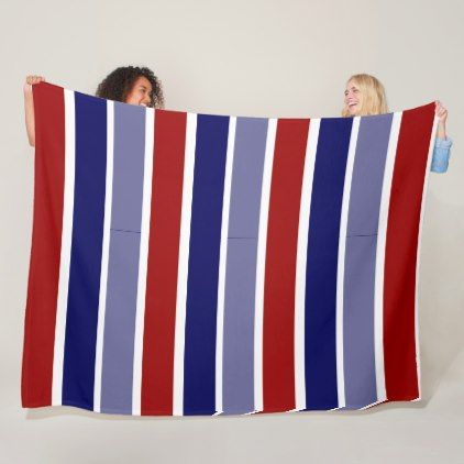 Wide stripes red white and blue fleece blanket - modern gifts cyo gift ideas personalize