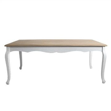 Orlena 2 Tone Wooden 180cm Dinning Table - Distressed White / Natural