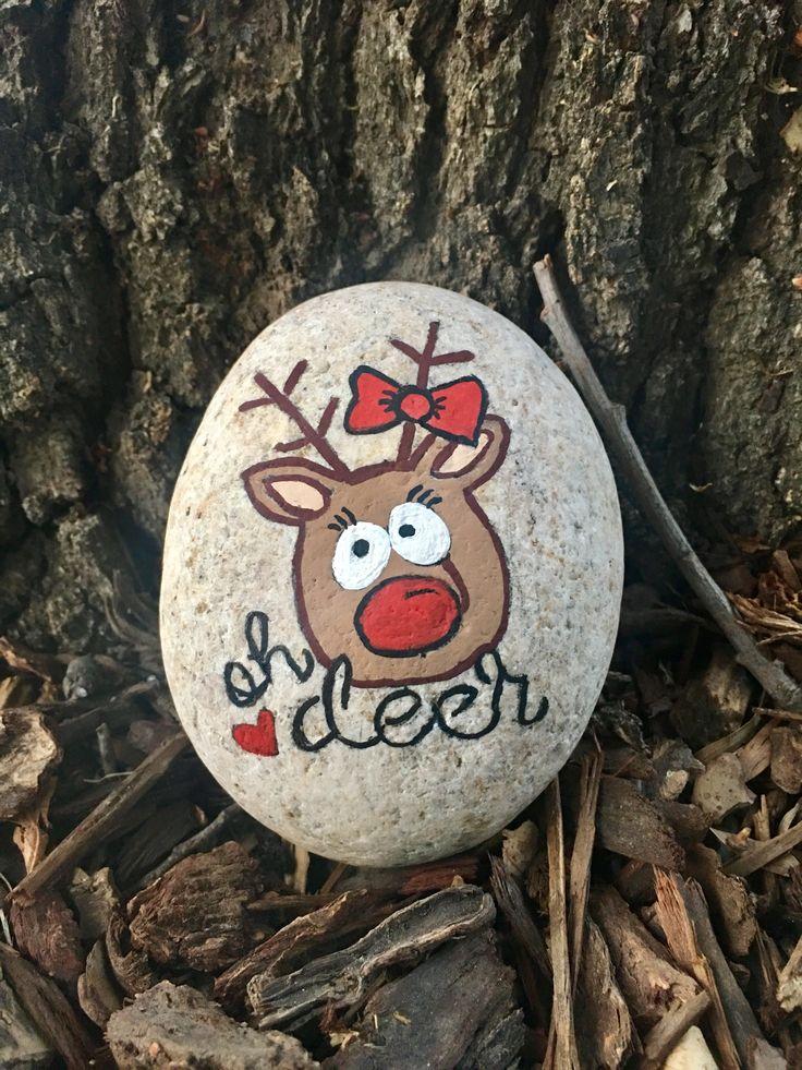 Painted Rock Christmas Oh Deer