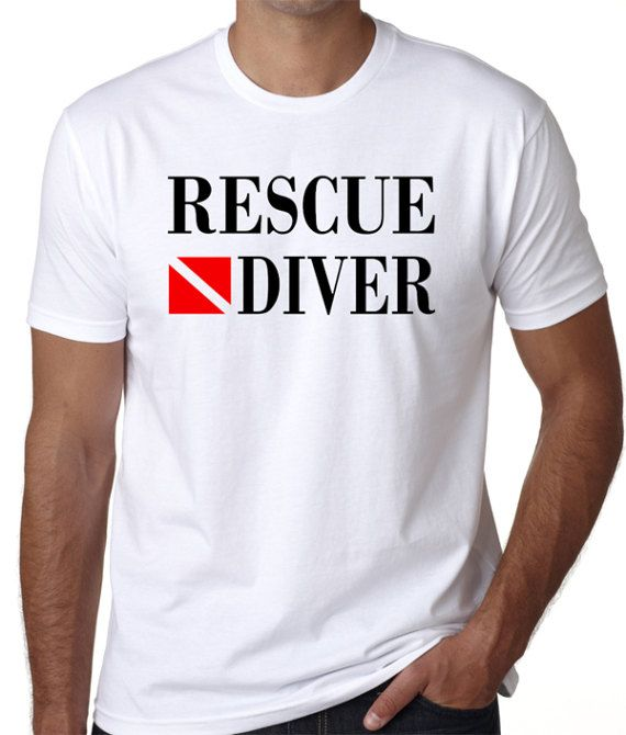 Rescue Diver T-Shirt  - Great gift idea for  fire department, police department or public safety scuba divers. BadassPrinting.com