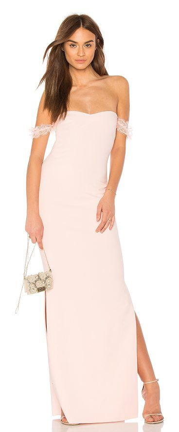 x Revolve Olympia Bridesmaid Gown by LIKELY. Poly blend. Dry clean only. Fully lined. Elastic lace sleeves. Side seam slits. Hidden back zipper closure. Neckline to hem measures approx 55 in length. LIKR-WD189. YD630 001LYB. Contemporary line, Likely, designs sharply priced, sexy d... #likely #dresses #gowns