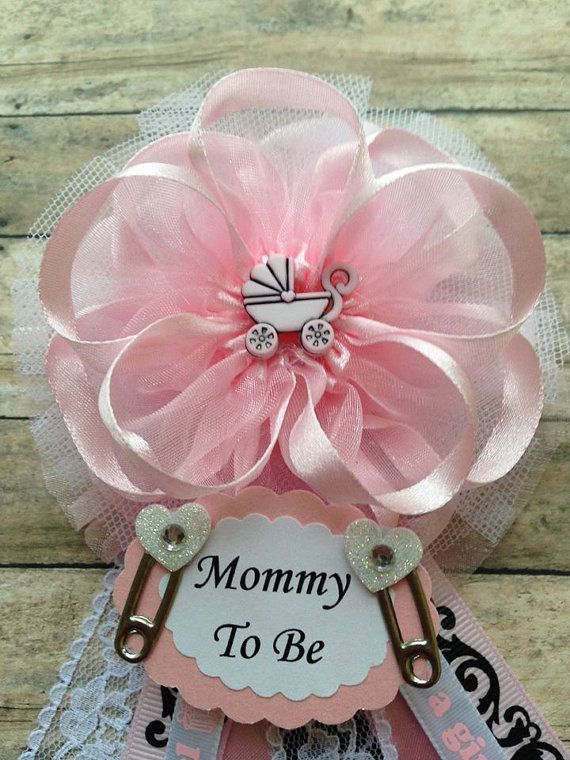 Pink Heart Carriage Mommy To Be Baby Shower Corsage Pink Theme Mom To Be Corsage It's a Girl Corsage
