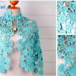 Chal Azul Cielo en Crochet – con patrones