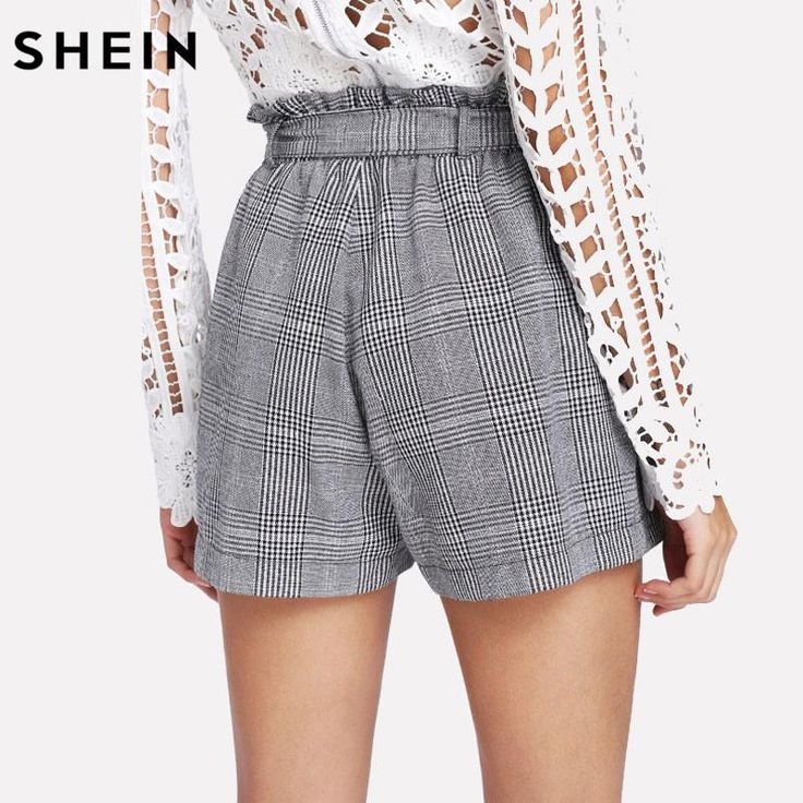SHEIN Grey Woman Shorts Spring Summer Straight Leg Bottom Mid Waist Casual Self Belted Plaid Hot Knot Pocket Shorts