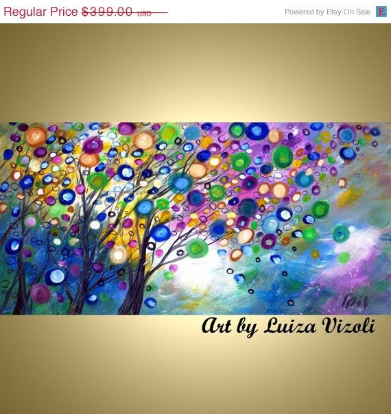 on SALE Original Modern Tree Landscape Oil Painting Abstract  Fine Art on Canvas 48x24 SPRING RAIN