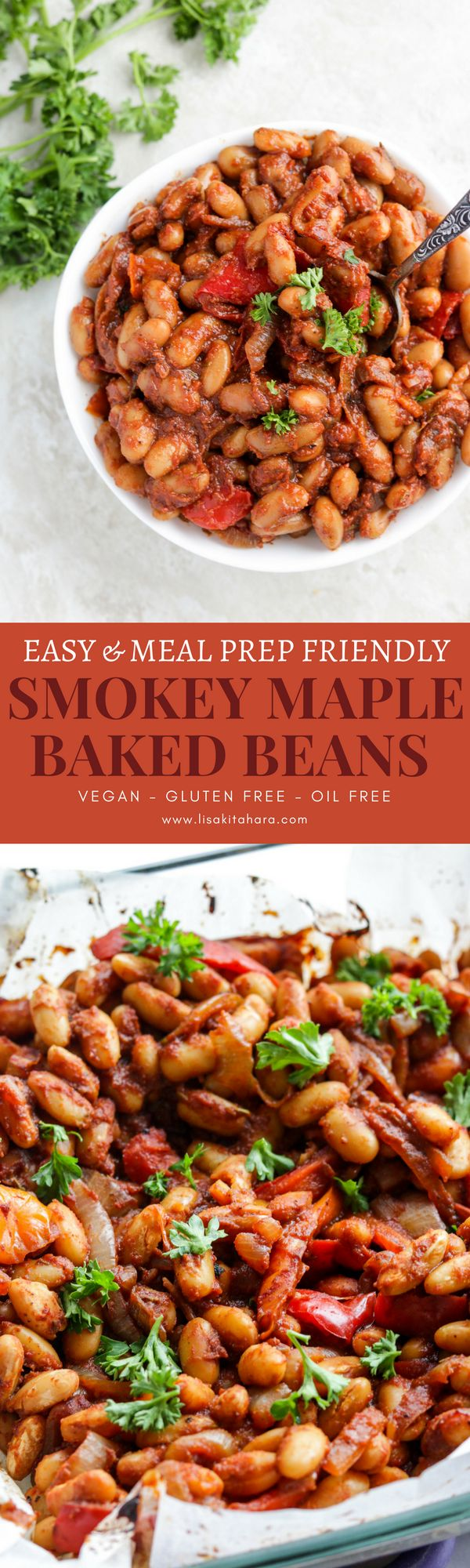 These Vegan Smokey Maple Baked Beans are naturally sweetened with pure Canadian maple syrup with a perfect balance of smokiness from the paprika. This dish is so easy to make and can be eaten for any meal alongside with crunchy toasty bread and on a bed of freshly streamed white rice. Packed with plant based protein, the versatility of this dish makes it perfect for weekly meal prep!
