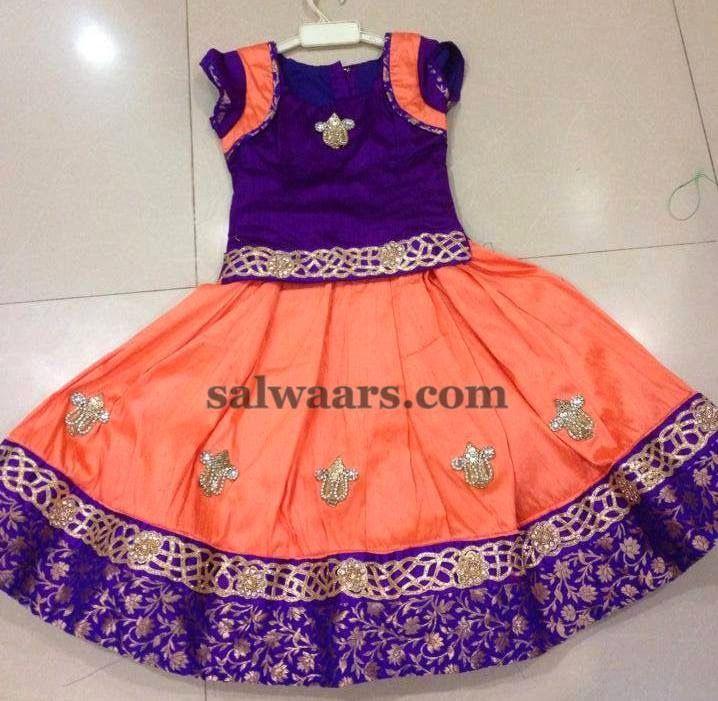Peach and Purple Lehenga - Indian Dresses