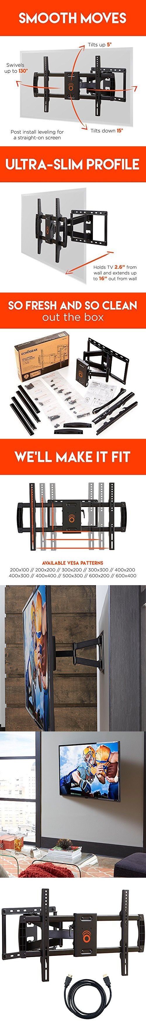 "ECHOGEAR Full Motion Articulating TV Wall Mount Bracket for most 37-70 inch LED, LCD, OLED and Plasma Flat Screen TVs w/ VESA patterns up to 600 x 400 - 16"" Extension - EGLF1-BK"