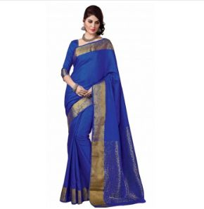 Double Blouses Rich Look Grand Bridal BLUE And Broad Bordered Saree