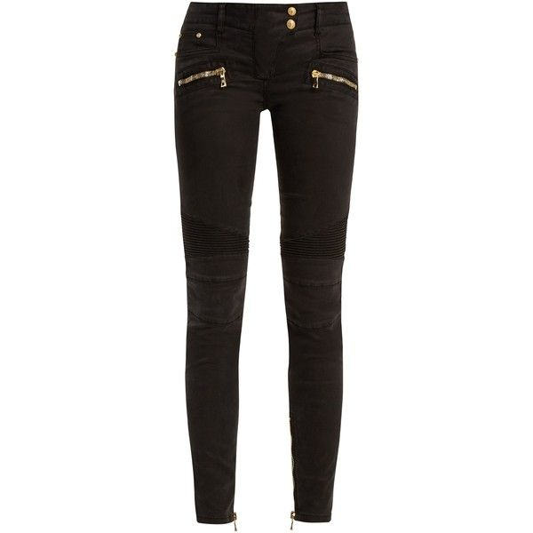 Balmain Low-rise skinny biker jeans (3.045 BRL) ❤ liked on Polyvore featuring jeans, black, skinny fit jeans, low rise jeans, zipper skinny jeans, form fitting jeans and skinny leg jeans