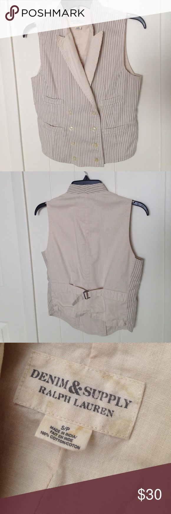 Denim & Supply Casual Vest Cream vest with black pinstripes in the front. Adjustable buckle on the back and on the front there are buttons and small pockets. Great for dressing gown up or down Denim & Supply Ralph Lauren Jackets & Coats Vests