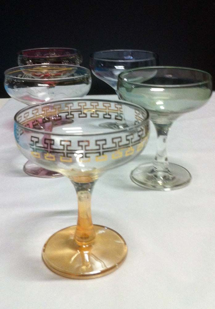 Colourful champagne saucers