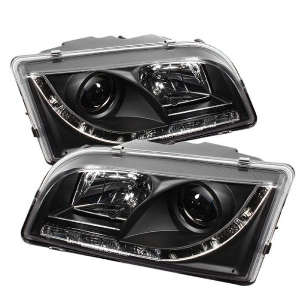 Spyder Auto 444-VOS4097-DRL-BK | 2002 Volvo S40 Black DRL LED Projector Headlights for Sedan