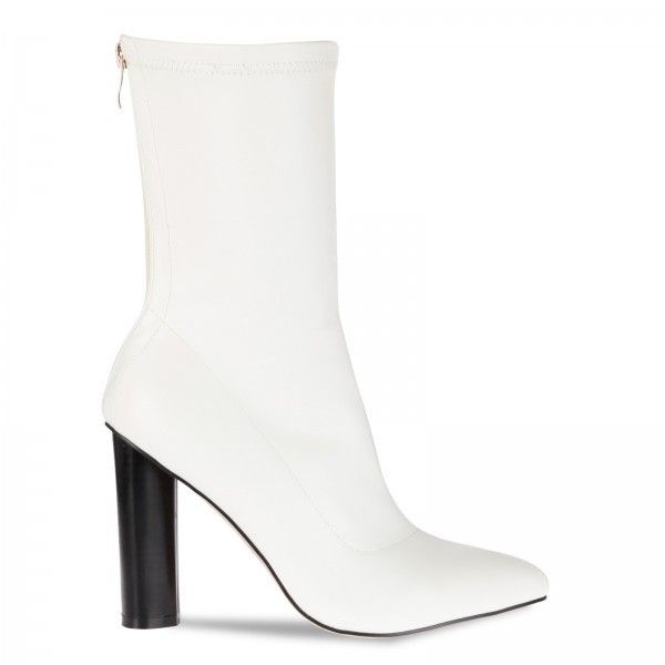 Zina White Ankle Boot ($43) ❤ liked on Polyvore featuring shoes, boots, ankle booties, white booties, white ankle boots, zina, ankle boots and ankle bootie boots