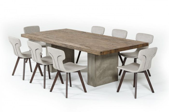 Modrest Renzo Modern Oak Concrete 118 Dining Table With Images