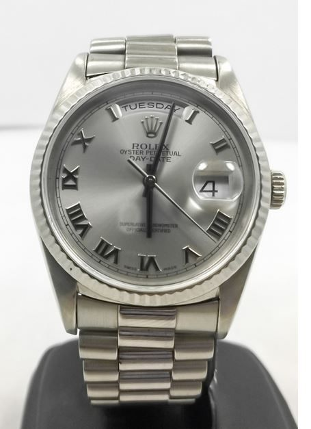 Rolex 18239 Day Date President 18k White Gold Automatic Watch   300watches