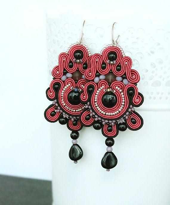 Indian red and black soutache earrings colorful dangle by pUkke