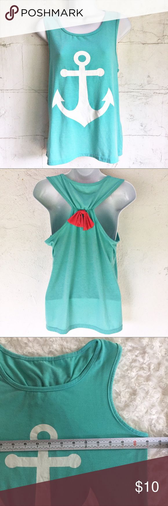 """Anchor Tank Top, Racerback w/Pink Bow Nautical Green Anchor Tank Top, Racerback w/Pink Bow  No brand or size tags, so please see measurements. Would best fit a size medium in women's. Super comfortable. Very soft. Stretchy material. Perfect for a day at the beach, lake or river! Super cute with white jeans or shorts!   Flat lay measurements  Bust approx 17"""" Waist approx 16.5"""" Length approx 23"""" Tops"""