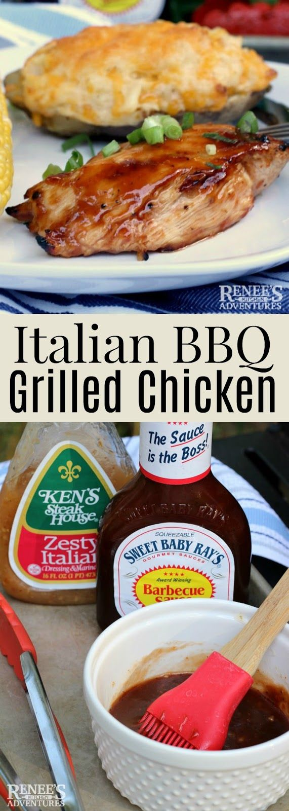 Italian BBQ Grilled Chicken | Renee's Kitchen Adventures - easy recipe for grilled barbecue chicken breasts made with BBQ sauce and Italian Salad Dressing. Perfect dinner recipe or lunch recipe! #CurbsideConvenience #ad #chicken #grilledchickenrecipe #chickenrecipe